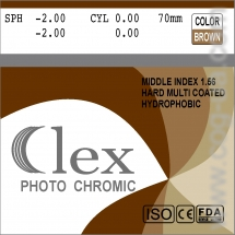 007. Lens Mid index 1,56 HMC EMI WR UV400 Photochromic (Brown; Grey) Clex